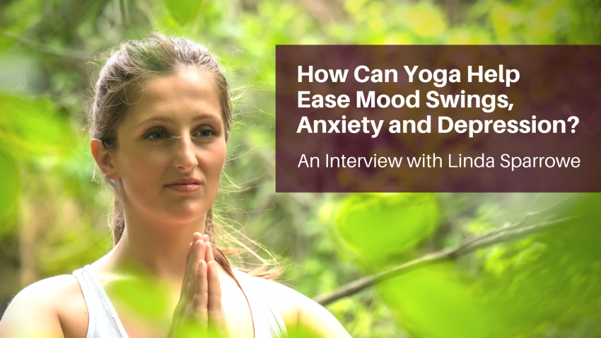 A woman practicing yoga with hands to heart to help mood swings, anxiety, and depression
