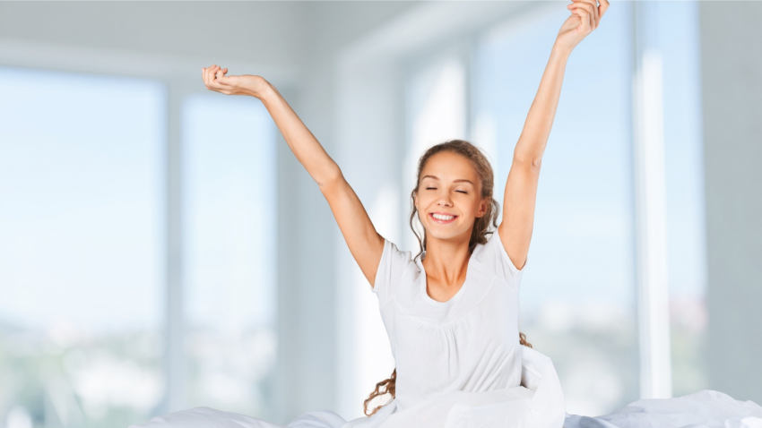 woman well rested with good sleep after yoga practice