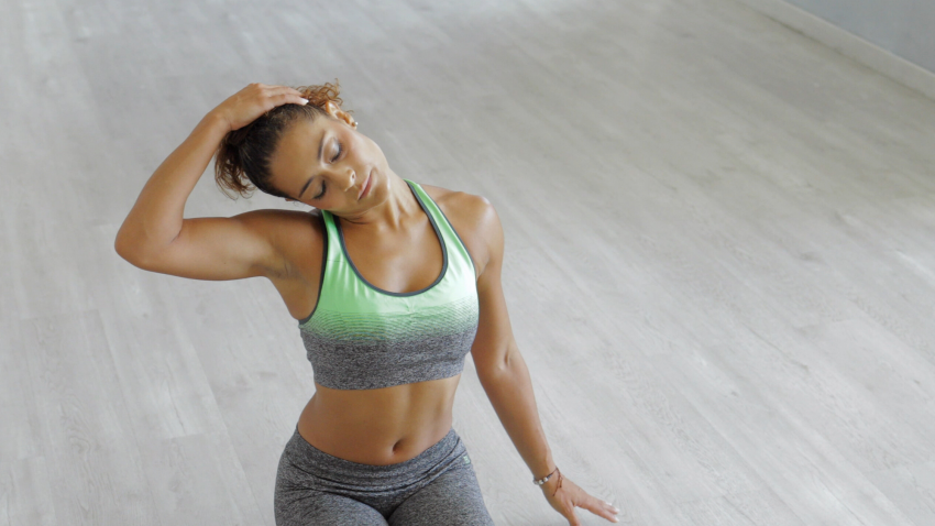 woman stretching her neck