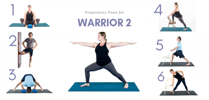 A woman doing Warrior 2 prep yoga poses sequence