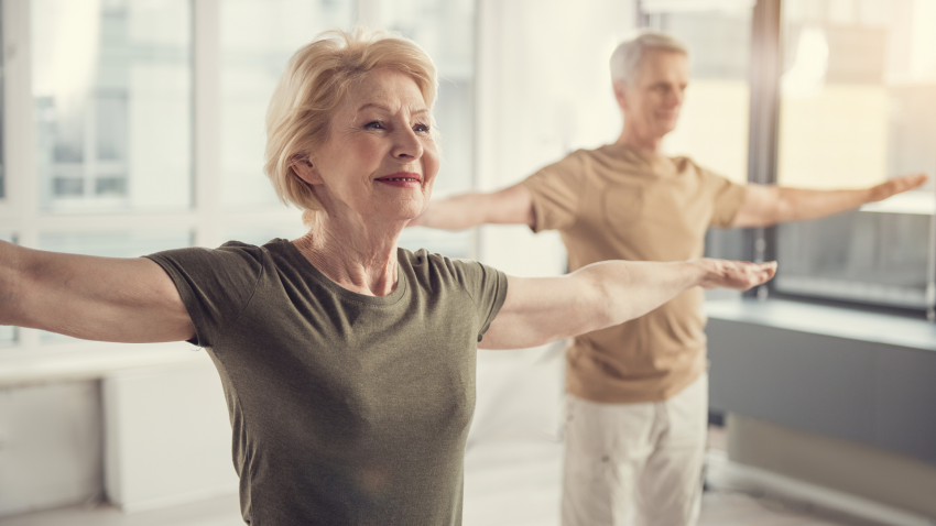 Yoga student experiencing the benefits of yoga for arthritis