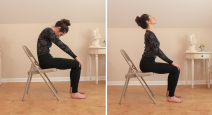 Woman practicing yoga Cat (Marjaiasana) and Cow Pose (Bitilasana)