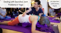 Yoga teacher Donna Farhi teaching yoga class for sacroiliac joint problems