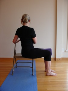 Seated Twist, twist with chair, gentle twist, yoga at your office desk, yoga for back health, yoga basics, 5 minute yoga