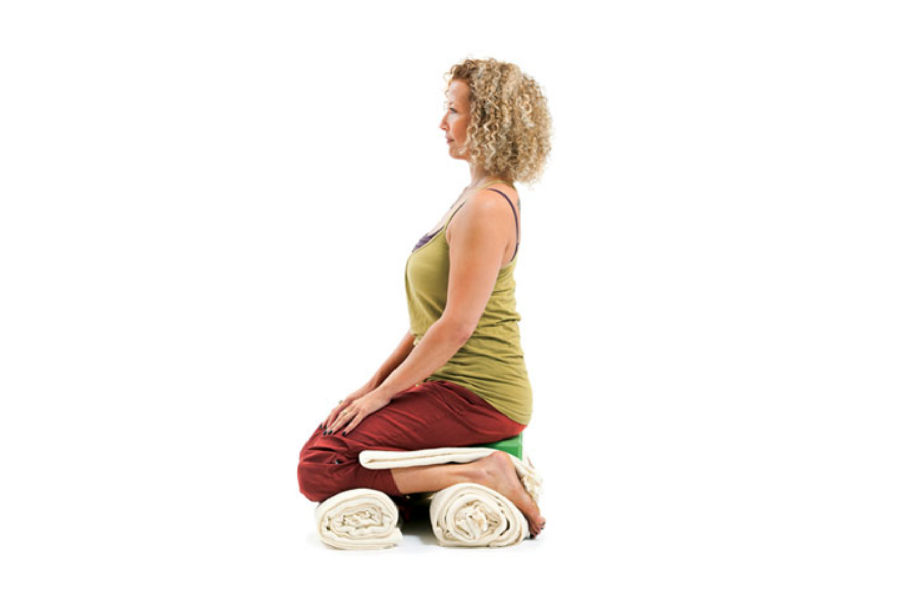 Virasana, Hero's pose, protect knees and feet, yoga with props, use a blanket, sequence for healthy hips and knees
