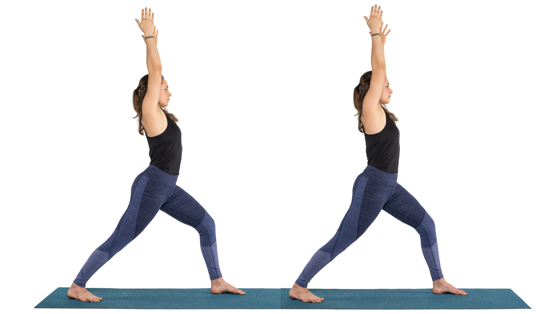 Woman practicing yoga Warrior I pose with anterior pelvic tilt and neutral pelvis.